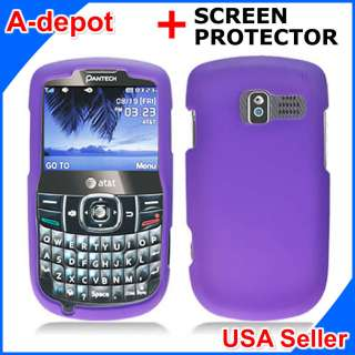 Pantech Link II 2 P5000 AT&T Purple Rubberized Hard Case Cover +Screen