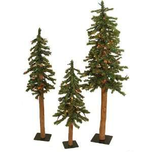 Set of 3 Natural Alpine Artificial Christmas Trees Multi Lights   2.5