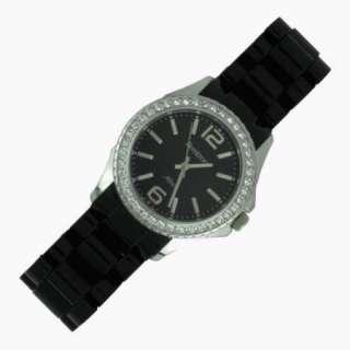 75393BKBK Swarovski Bezel Black Dial Silver Tone Watch USA SELLER