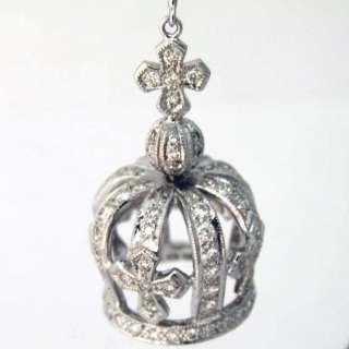 18 kt white gold Diamond crown earrings 2.52ct