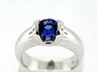 70 CT Round Tanzanite Ladys Ring 14K White Gold