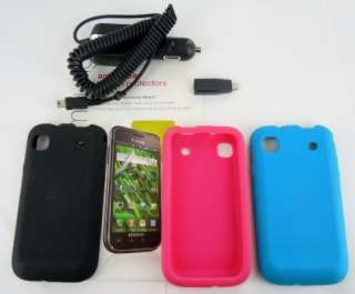+Pink+Blue Gel Case Samsung Galaxy S 4G+Protector+Car Charger