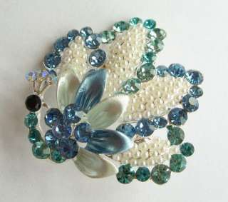 VARY COLORS SWAROVSKI CRYSTAL PEARL PEACOCK PIN BROOCH 1532