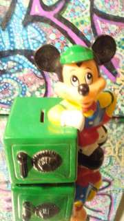 Vintage 1970s Disney MICKEY MOUSE with SAFE VINYL BANK