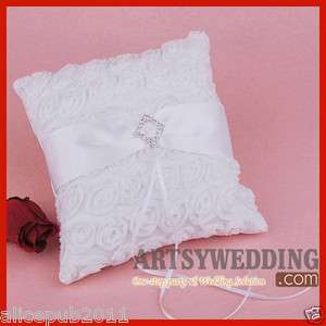 Rosettes Crystal Satin and Chiffon Wedding Ring Bear Pillow NEW