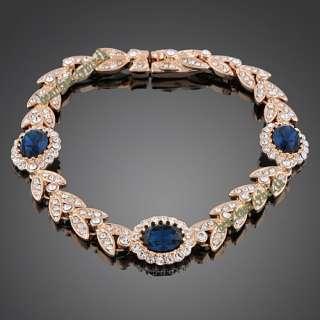 18K rose gold GP swarovski crystal &sapphire bracelet B120