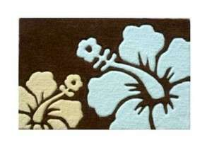 Flower Area Rug 18x28 inch Brown and Blue Hawaii Tropical Decor