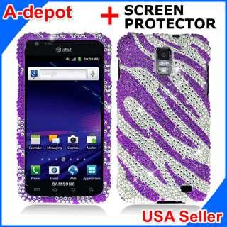 Samsung Galaxy S 2 II Skyrocket i727 AT&T Purple Zebra Bling Hard Case