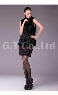 0332 Rabbit Fur Elegant Fashion women Vest waistcoat gilet sleeveless