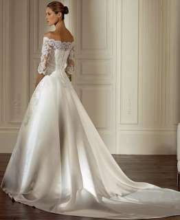 /Ivory Applique Beaded Wedding Dresses Bridal Gown Custom size