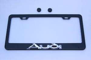 Chrome Audi 3D Black Steel License Plate Frame