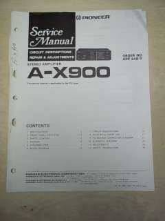 Pioneer Service/Repair Manual~A X900 Stereo Amplifier~Original