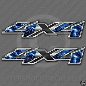 4x4 truck decal electric blue