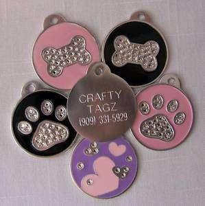 Swarovski Crystal ID tag Bone/Paw/Hearts Dog Rhinestone