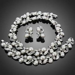 ARINNA Pearl Necklace Bracelet Earring Set Swarovski Crystal 18K White