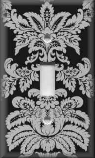 Light Switch Plate Cover   Black And Grey   Damask Design