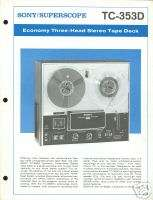 Sony TC 353D Open Reel Tape Deck Brochure 1973
