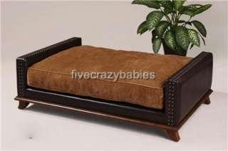 Designer Extra Large Classic Leather Dog / Pet Bed Masculine Luxury