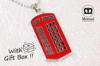 F36 Red Phone Booth Charm Pendant Necklace (+Gift Box)