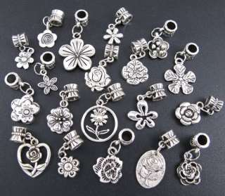 Wholesale 100p Mix Tibetan Silver Flowers Dangle Beads Fit Charm