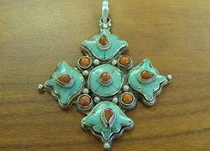 ANTIQUE STERLING TURQUOISE CORAL ORNATE CROSS PENDANT