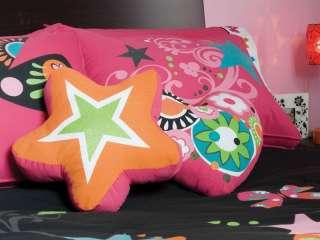 New Girls Nova Black Pink Butterfly Comforter Bedding Set Twin 7 pcs