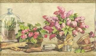 Floral Wallpaper Border/ Flower Pot Garden Wall Border / Brown Trim