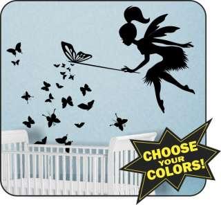 Fairy w/ Wand & Butterflies butterfly Vinyl Wall Decal