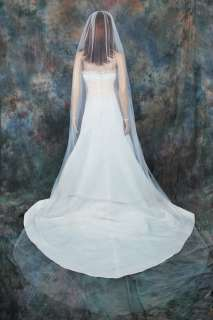 1T Cathedral Diamond White Plain Bridal Wedding Veil