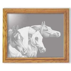 Etched Mirror Arabian Horse Heads Art in Solid Oak Frame