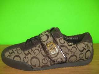 GUESS Brown Gold G Logo Sneakers WGEDLER Trainers Tennis Shoes Womens