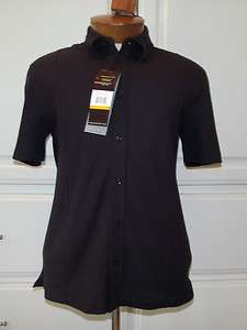 Perry Ellis NWT Brown Polo Button Shirt S Dark Chocolate Brown Luxe