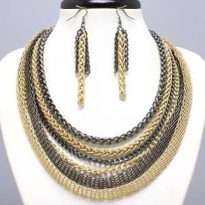 layer Hematite and Goldtone Link Chain Necklace/earring Set Jewelry
