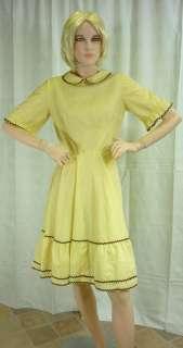 Vintage retro Sz S 1950s yellow brown polka dot spot dress swing