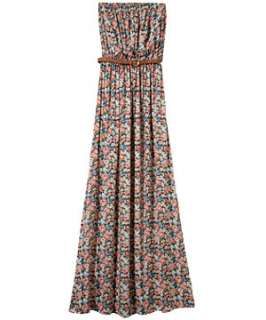 Blue Pattern (Blue) Teens Multicolour Floral Belted Maxi Dress