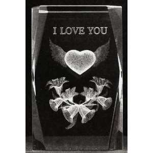 3d Laser Crystal Flying Heart with Flowers (I Love You) 5x5x8 Cm Cube