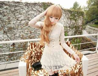 FASHION CREW NECK SLIM FIT LONG SLEEVE LACE DRESS 2120