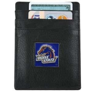 NCAA Boise State Broncos Black Leather Executive Card Holder & Money