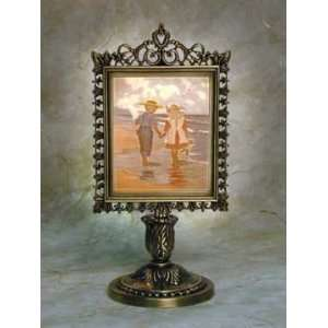 Summer Friends Lithophane Victorian Stand Antique Brass