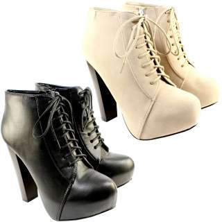 WOMENS LACE UP ANKLE BOOTS HIGH BLOCK PLATFORM HEEL SUEDE SHOES LADIES