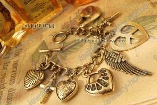 Retro Bronze Heart Cross Wing Charming Charm Bracelet