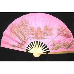 Silk Hand Fans   Turtle Island/ Pink   FB135