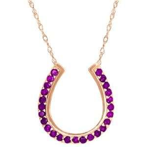0.50 Ct Round Purple Amethyst 14k Rose Gold Pendant Jewelry