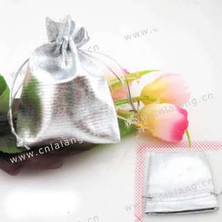 50 Silver Cloth Wedding Favor Pouch Gift Bags 7x9cm D30