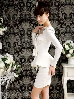 elegant women slimming dress set OL diamond bow puff sleeve free