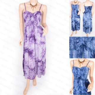 Free Ship Tie Dye Long Smocked Hippie Lined Maxi Dress
