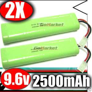 2x 9.6v 2500mAh NI CD NICD AKKU PACK RC Battery 9.6