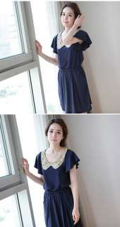Korea Women round neck mini Dresses Blue Z673