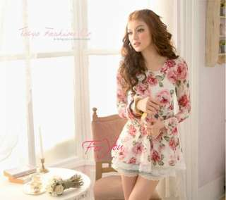 Foryou Free S&H New Four Seasons wearing a flower shirt Tops Blouses
