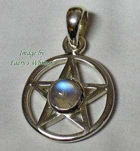 PENTAGRAM PENDANT   Sterling Silver   Wicca   Mood Piece   NEW